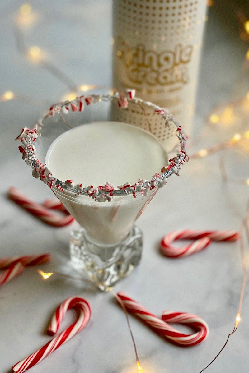 Kringle Cream Peppermint Martini with crushed peppermint candies